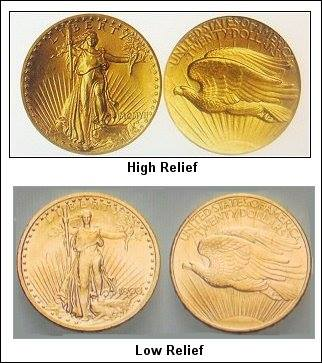 High Relief Gold & Silver Coins
